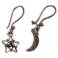 Vintage Sterling Silver Moon Star Earrings