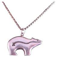 Vintage Bear Fetish Sterling Silver Necklace