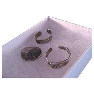 Vintage Sterling Silver Toe Rings