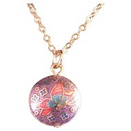 Vintage Cloisonne Pendant and Chain