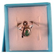 Vintage Malachite and Sterling Silver Ring