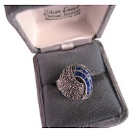 Vintage Sterling Silver Lapis and Marcasite Ring