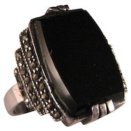 Vintage Sterling Silver Black Onyx  Marcasite Ring