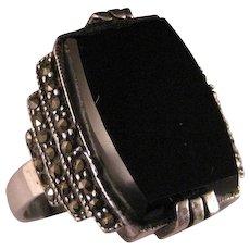 Vintage Sterling Silver Black Onyx  Marcasite Ring