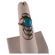 Vintage Southwest Turquoise Sterling Silver Ring