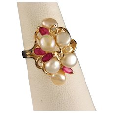 Vintage Ruby Pearl 14 K Yellow Gold Ring