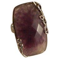 Vintage Unusual Amethyst and Silver Color Ring