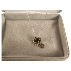 Vintage Sterling Silver Black Rose Pendant and Chain