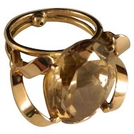 Vintage 14 K Gold Oval Premium Citrine 15 Carat Ring