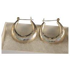 Vintage Engraved Sterling Silver Hoop Earrings