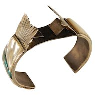 1960's Sterling Silver Southwest Native American  Zuni Cuff Watch Bracelet