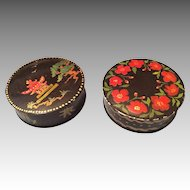 2 Vintage Hand Painted Doll Size Round Metal Box for Accessories Signed Harrington