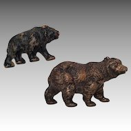 2 Vintage Bear Black Brown for Doll Toy or Dollhouse