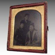Antique Tintype Dollhouse Doll Miniature Picture Photo 3 Ladies Hat