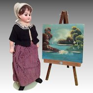 Vintage Miniature Dollhouse or Doll Size Painting on Canvas