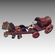 Adorable Miniature Wood Horse Drawn Covered Wagon