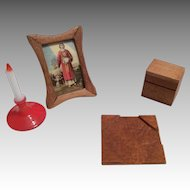 4 Piece Vintage Miniature Doll Dollhouse Desk Accessories Box Candle Picture