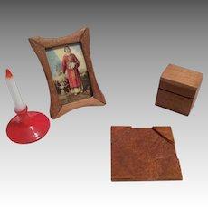4 Piece Vintage Miniature Doll Dollhouse Desk Accessories Box Candle Picture