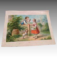 Antique Miniature Print for Dollhouse Doll Picture Romantic Boy Girl Dog Scene