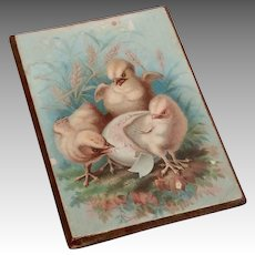 Hatching Chicks Miniature Dollhouse Doll Picture Print Antique Litho
