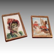2 Victorian Scrap Lithograph Picture Under Glass Dollhouse Doll Antique Miniature