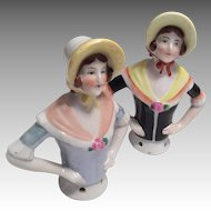 Twin German Half Doll or Pin Cushion Antique Doll Set