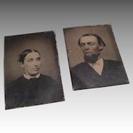 2 Miniature Civil War Era Dollhouse Doll Antique Tintype Photograph Man & Woman