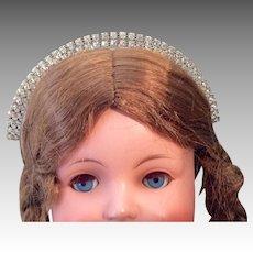 Vintage Rhinestone Doll Tiara Crown Headband