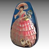Lovely Lady Pekingese Dog Candy Container Vintage Tin Litho Doll Size Box