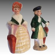 2  German Tiny Miniature Man Woman with Parasol Doll Figures