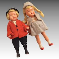 2 German All Original Clothes Hat Dollhouse Doll Pair Riding Outfit