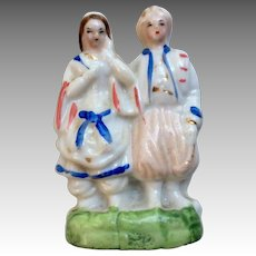 Antique Miniature China Glazed Bisque Dollhouse Doll Figurine Statue