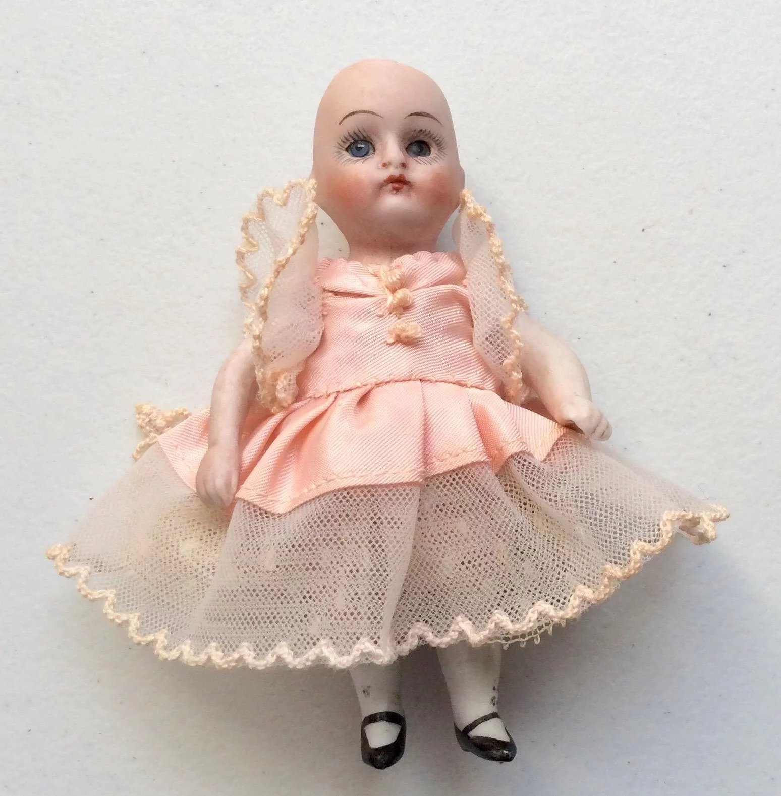 Antique German All Bisque Prize Baby Doll Closed Mouth Glass Sleep