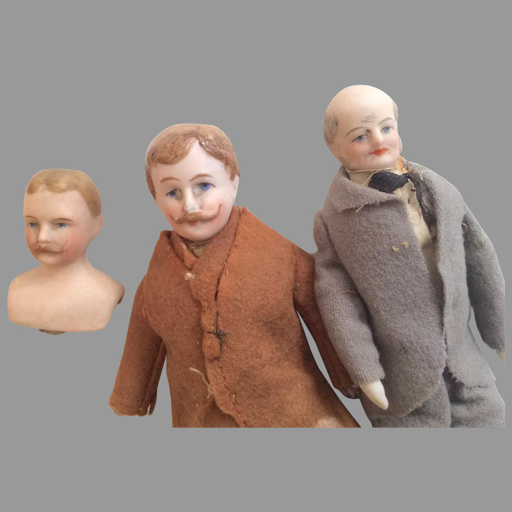 Man with a Mustache 1 Bisque Doll Head