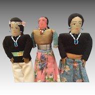 3 Vintage Navajo Native American Indian Cloth Doll