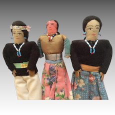 3 Vintage Navajo Native American Indian Cloth Doll