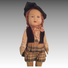 Glass Eye Chad Valley Vintage English Cloth Doll All Original Clothes
