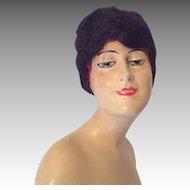 Large Smiling Lady Deco Boudoir Half Doll Antique German Wig Head Signed Baitz Style
