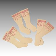 3 Pairs of 1950s Doll Socks or Stockings Cardboard Form