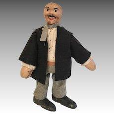 Wood Schoenhut Man Doll Antique Hobo Mustache