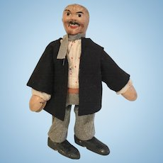 Wood Schoenhut Man Doll Antique Hobo Mustache