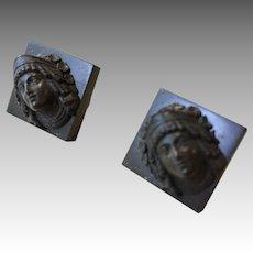 Figural Cuff Links Gutta Percha Antique Victorian Cufflinks Buttons