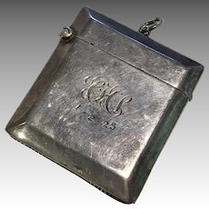 Dated 1925 Sterling Silver Doll Size Purse Chatelaine Antique Match Safe