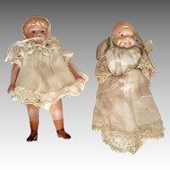 2 Miniature Germany Japan Antique Dollhouse Doll Original Clothes