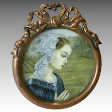 Miniature Doll Size Picture Frame Lovely Antique Print