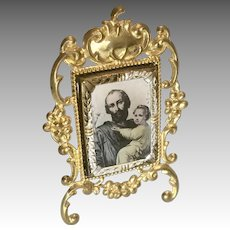 Ornate Miniature Ormolu Metal Dollhouse Doll Antique Picture Frame Czech Religious