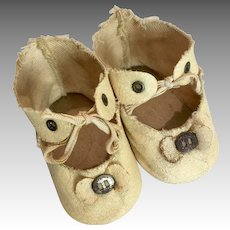 Antique Doll Shoes Metal Buckle Bow