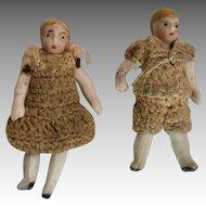 2 All Bisque Carl Horn Doll Boy Girl Set Crochet Outfits