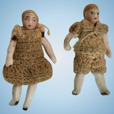 2 All Bisque Carl Horn Doll Boy Girl Set Crochet Outfits