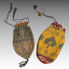 2 Antique Cloth Drawstring Doll Purse Pair for Early Doll Primitive Folk Art Crochet